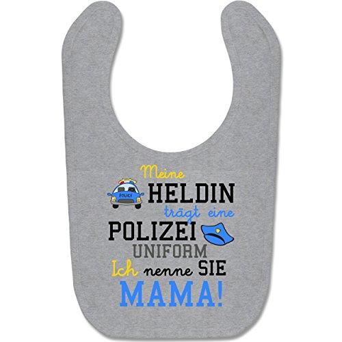 Shirtracer Anlässe Baby - Meine Heldin trägt eine Polizei Uniform Mama - Unisize - Grau meliert - BZ12 - Baby Lätzchen Baumwolle -