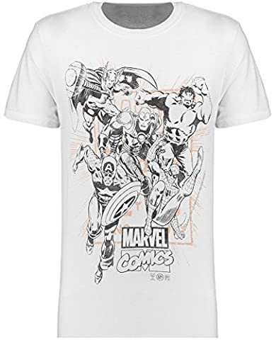 Branded T-Shirts Mens Marvel Short Sleeve Crew Neck Cotton T-Shirt Graphic Tee