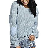 Damen Pullover Shirt Sweater Oberteile Strickpullover Tops Strickpulli Sweatshirt Outwear Frauen Coat Jacket Pulli Womens Bluse Kleid Strickwaren Oberteil Strick(Hellblau/H,XL)
