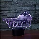 Zyyymx Bunte Nacht Dekor Usb Acryl 3D Tennisschläger Nachtlicht Led Touch Tischlampe Baby Schlaf Beleuchtung Kinder Neujahr Weihnachtsgeschenk