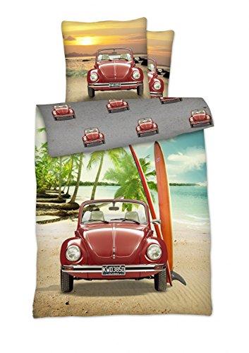 Volkswagen Bettwäsche Set VW Käfer rot Wendeoptik 2tlg 135x200 cm 100% Baumwolle Renforcé Auto Oldtimer Käfer , Größe:135x200 cm + 80x80 cm