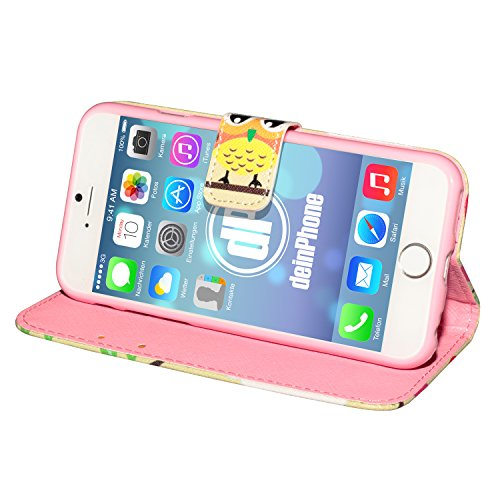 "deinPhone Apple iPhone 6 6S Plus (5.5"") KUNSTLEDER FLIP CASE Hülle Tasche Eulen Happy Family Ampel Eule"