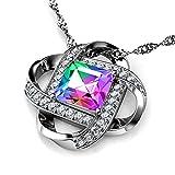 DEPHINI - Collar mujer - arco iris Swarovski® Cristal Secreto Amor colgantes mujer con circo...