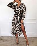 Swallowuk Kleider Damen Sexy Knielang Cocktailkleider Frauen Mode Langarm Leopardenmuster Split Revers V-Ausschnitt Langes Abendkleider (XXL, Pink)