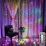 Luoistu LED Tenda con Catena di Luci, 3 x 3Metro, Impermeabilità, 304 LED Luce per tende da finestra, luminosa con Telecomando 8 Modalità, Natale Feste Decorazione, Giardino (Colore)