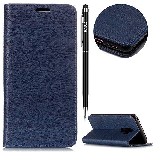 Galaxy S9 Plus Handyhülle,Galaxy S9 Plus Hülle,WIWJ PU Cover Case Leder Flip Wallet Schutzhülle [Baum Linien Automatische Absaugung Handytasche]Hülle für Samsung Galaxy S9 Plus-Dunkelblau