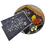 2er Set Herdabdeckplatten aus Glas im Blütendesign Küchenbrett Abdeckplatten Servierplatte Glasbrett Schneidbretter