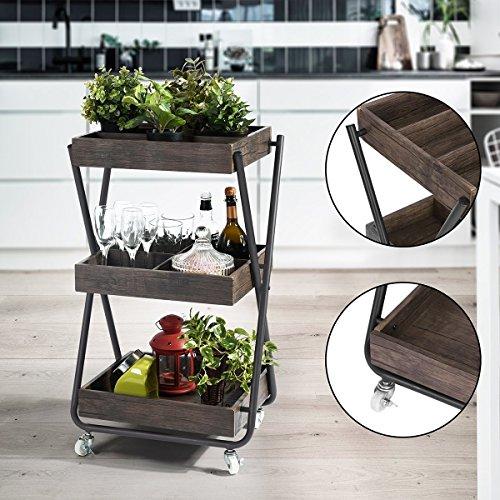 homycasa 3Ablagen aus Holz Storage Rack mit Rollen, Speicher Warenkorb Haben Sub-Grid, Aufbewahrung Trolleys, Wartung Carts (Holz-speicher-warenkorb)