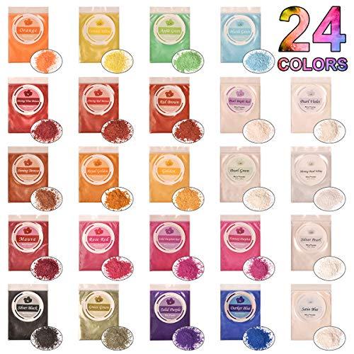 DEWEL 240g Naturale Pigmenti Coloranti Mica Powder 10g*24 Colori Mica Polvere Colorante Polveri Perlato per DIYSapone SlimeCandele Acquerello