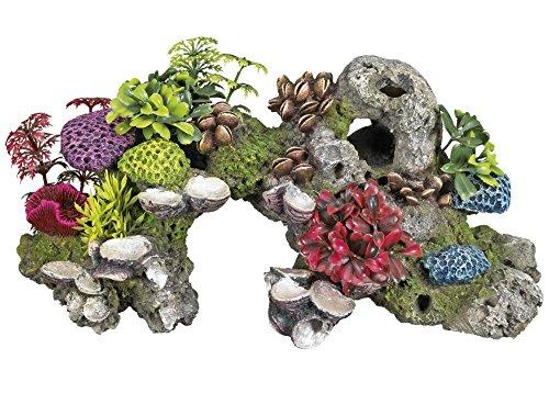 Nobby 28569 Aquarium Dekoration Aqua Ornaments Stein mit Korallen und Pflanzen