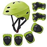 SKL Set di Casco, Ginocchiere, gomitiere e Guanti in Gel per Bambini, per Hoverboard, Scooter, BMX e Bicicletta (Verde)