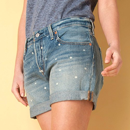 womens-levis-womens-501-dotted-shorts-in-blue-29-inch