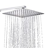 Conhee Regendusche 8 Zoll Quadratischer Einbauduschkopf 304 Edelstahl Duschkopf poliert Spiegeleffekt Kopfbrause Regenbrause mit Anti-Kalk-Düsen 20 X 20 cm Wasserfall Regenduschkopf