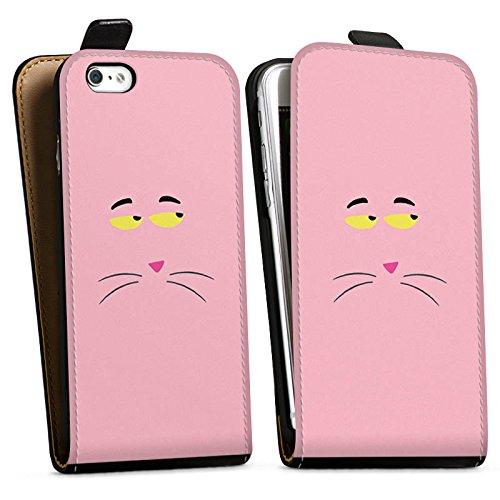 Apple iPhone X Silikon Hülle Case Schutzhülle Pink Panther Katze Cat Downflip Tasche schwarz