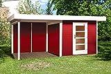 weka Designhaus 172 B Gr.1, schwedenrot, 28 mm, ET, Anbau 300 cm, ohne RW