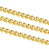 Nbeads 92 m Twisted catena barbazzale in ottone dorato catene 1.5 x 1 x 0.35 mm come su bobina