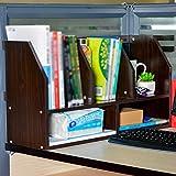 RSDBNHDL Pequeña Estantería Creativo Escritorio Bandeja De Almacenamiento Acabado De Documentos Estudiar Oficina Librería Pequeña Moderno MDF 60 * 20 * 35 Cm,Brown