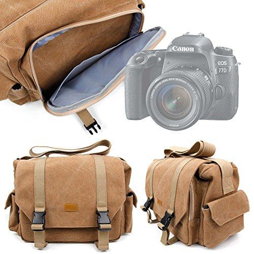 Duragadget borsa professionale canvas per fotocamera digitale canon eos 7   eos 70d   eos 800d   eos 80d   eos 77d   eos 77d - con tracolla regolabile e numerosi scomparti