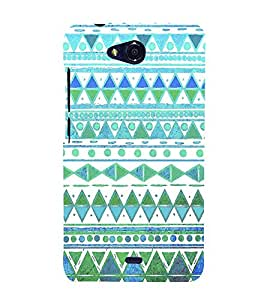 Fiobs Designer Phone Back Case Cover Micromax Canvas Spark Q380 ( Blue White Green Colorful Pattern Design )