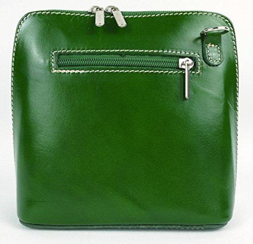 Vera Pelle Italiana Piccolo Croce Corpo Borsa o borsa a tracolla Purple Small Green
