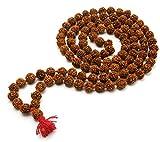 WCJ Natural 8mm 108+1 Beads Rudraksha Mala (Brown)