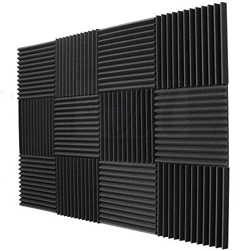 BEWAVE Panel acústico de espuma acústica para insonorizar, a prueba de sonido, cortina para estudio de pared, sala de piano, 2,54 x 30,48 x 30,48 cm