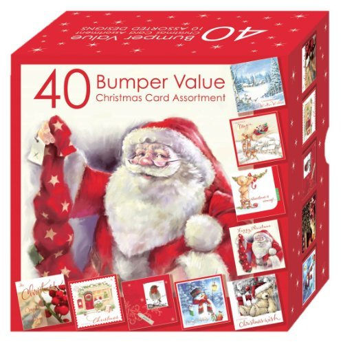 BUMPER VALUE Assorted Bumper Box of 40 Christmas Cards HSX2154 10 Designs per pack Cute Tradtional