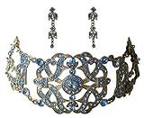 Trachtenschmuck Kristall Kropfkette - Dirndl Collier Set - Kette im viktorianischen Stil - Ohrstecker - blau