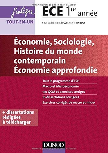 Economie, Sociologie, Histoire du monde contemporain, Economie approfondie - ECE 1re anne