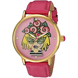 Betsey Johnson Women's Quartz Metal and Leather Casual Watch, Color:Pink (Model: BJ00496-53)
