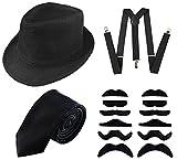 GCFIYPP 1920er Jahre Herrenbekleidung Zubehör Gangster Kostüm Set - Manhattanhat, Hosenträger, selbstgeschützter Bart, Krawatte