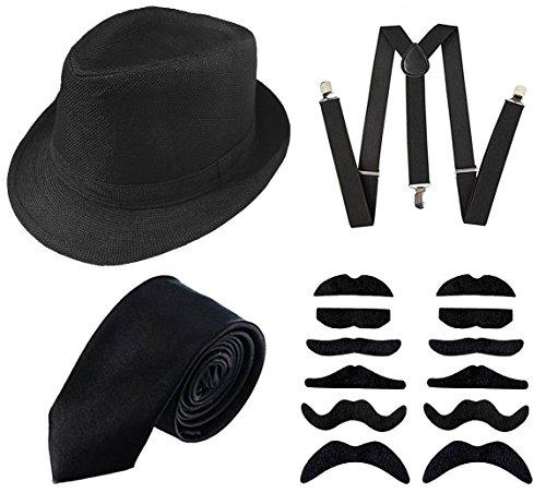 GCFIYPP Década de los años 20 Accesorios para la Ropa de los Hombres Conjunto de Disfraces de gángster Manhattanhat, Tirantes, Barba autoprotegida, Lazo