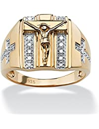 Neno Buscotti - Anillo para hombre - Oro de 18k sobre plata de ley - Detalles de diamantes - Motivo cruz