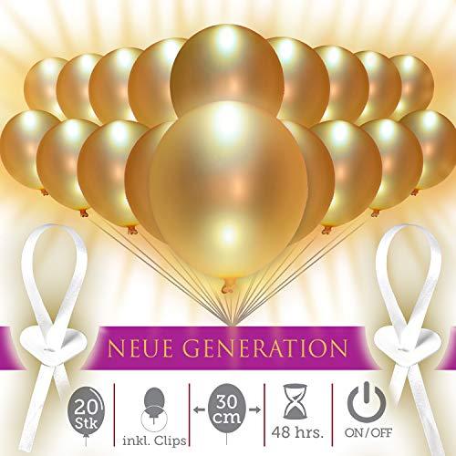 cm | leuchtende LED Luftballons mit Schalter | 20 STK | handsortiert | Beste Technik | 48h | inkl. Verschlüsse – Made in Germany | Jubiläum Veranstaltung Geburtstag ()