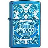 Zippo 60001112 Scroll Briquet Laiton Saphir 3,5 x 1 x 5,5 cm