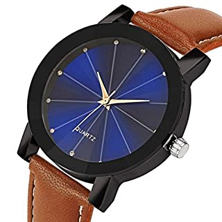 AutumnFall Needle Buckle Quartz Sport Military Stainless Steel Dial Leather Band Wrist Watch for Women Men (Brown)