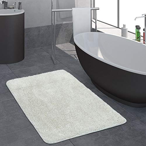Moderno pelo lungo bagno tappeto monocolore tappetino da bagno antiscivolo bianco, dimensione:80x150 cm