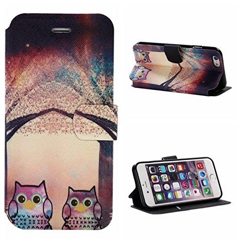 iPhone 6/6S Coque, Voguecase Étui en cuir synthétique chic avec fonction support pratique pour Apple iPhone 6/6S 4.7 (cocotier 05)de Gratuit stylet l'écran aléatoire universelle couple de chats 01