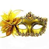 HUPLUE Damen Party Masquerade Augenmaske Sexy Charm Maske aus Spitze Party Ball Masquerade Fancy Kleid Venezianischer Stil Gold