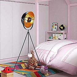 sdd Lámpara de pie moderna de trípode de diseñador de estudio industrial - 142 cm de alto, reflector de acero Contemporáneo dorado/astilla Pantalla cóncava Deco Accesorios ajustables Iluminación de