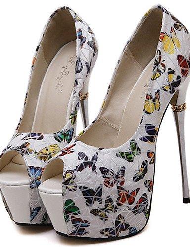 WSS 2016 Chaussures Femme-Habillé / Soirée & Evénement-Noir / Blanc-Talon Aiguille-Bout Ouvert / Confort-Chaussures à Talons-Polyuréthane white-us6.5-7 / eu37 / uk4.5-5 / cn37