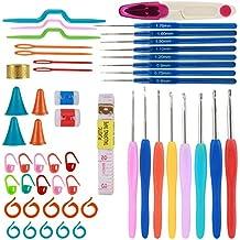 BYTAN Kit de 16 agujas de ganchillo ergonómicas de aluminio 0,6 mm - 6 mm con 36 accesorios de crochet para tejer en caja