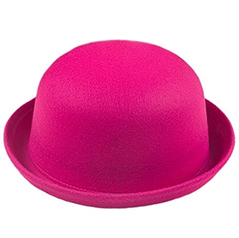 DELEY Fashion Women Vogue Lady Round Wool Trendy Vintage Cloche Derby Bowler Hat Hot Pink