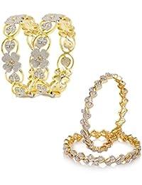 Zeneme Combo Of 2 Pairs Of Rhodium Plated American Diamond Bangle Set Jewellery For Women/Girls (2.8)