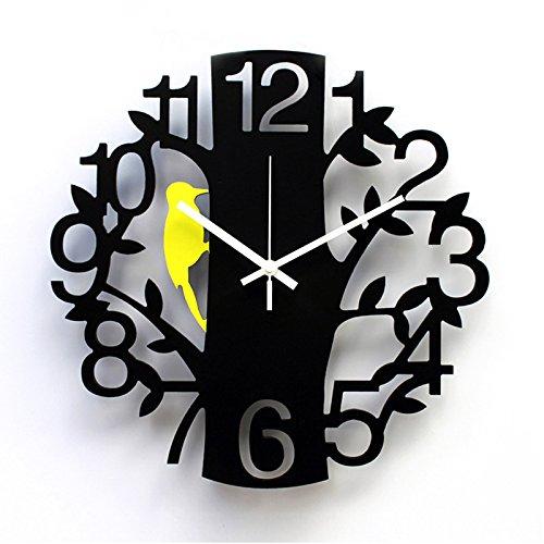 Kupfer Wanduhr- Persönlichkeit Mute Kunst Wanduhr Mode Kreative Wohnzimmer Große Tischuhr Digital Specht Uhr Hohle Uhr -Wanddekoration (Farbe : Black+Wall Stickers, Größe : 14 inches)