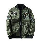 Chaqueta De Aviador para Hombre Primavera Otoño Sección Delgada Dos Lados Usan Abrigo Sección Delgada Retro,Green-XL