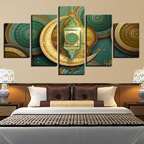 Ysain Leinwand Bild Leinwand Hd Drucke Bilder Wohnkultur 5 Stücke Religion Allah Der Koran Gold Mond Malerei Modulare Wandkunst Muslimischen Poster Rahmen-40Cmx60/80/100Cm-Mit Rahmen