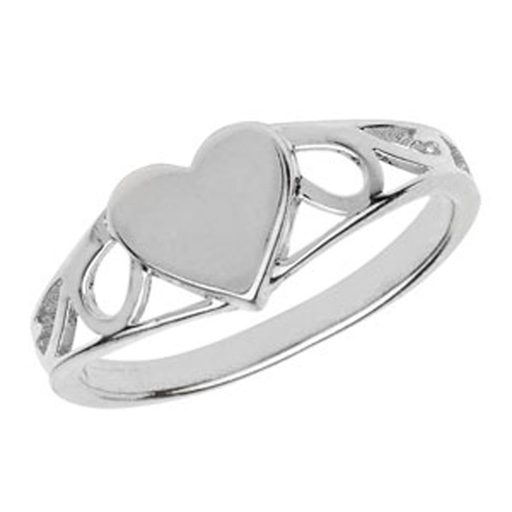 GNI Sterling Silver Children's Small Plain Heart Signet Ring