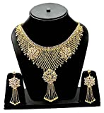 #10: Eshopitude Designer Cz American Diamond Queen Full Neck Gold Plated Necklace & Earrings Set For Women