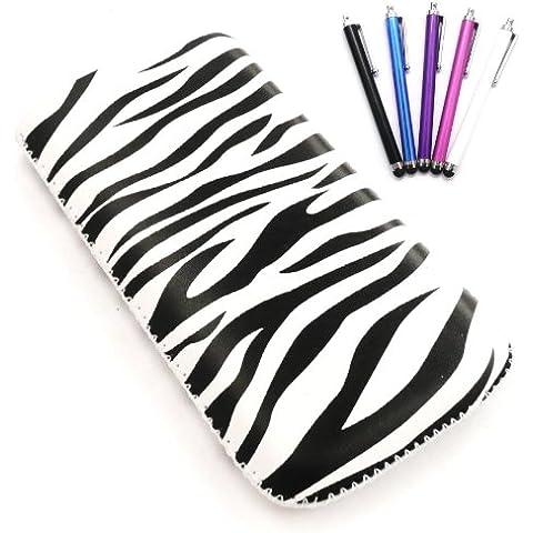 Emartbuy Stylus Pack Para Lg P990 Optimus 2X - Paquete De 5 Stylus + Protector De Pantalla + Zebra Negro / Blanco Premium De Cuero De La Pu Bolsa / Caja / Manga / Soporte (Tamaño Xxl) Con El Mecanismo De